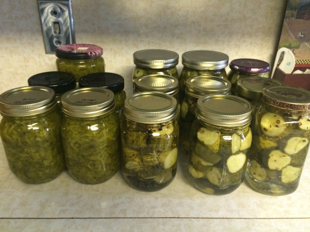 Jars of relish and sweet pickles