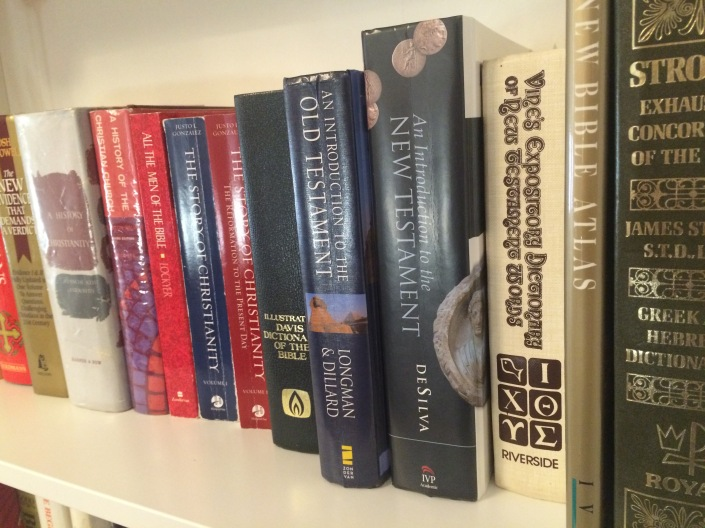 A shelf of textbooks