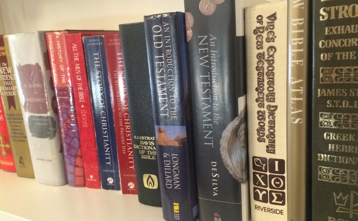 A shelf of textbooks
